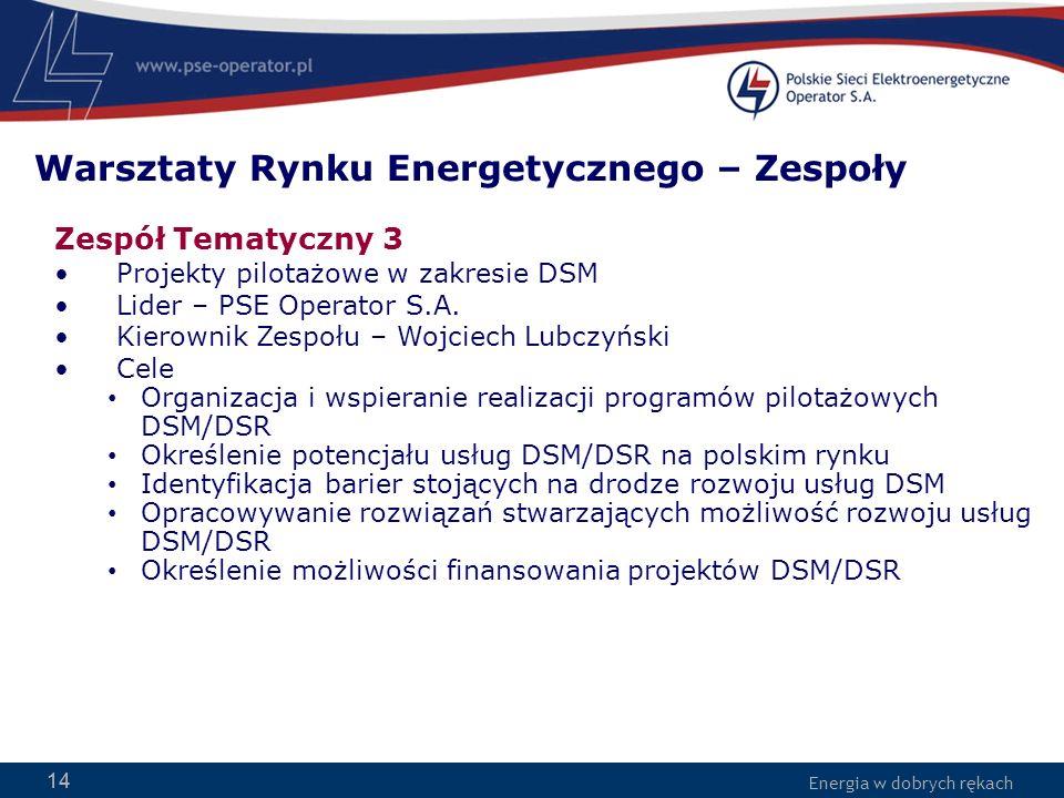 Energia w dobrych rękach 14 Zespół Tematyczny 3 Projekty pilotażowe w zakresie DSM Lider – PSE Operator S.A. Kierownik Zespołu – Wojciech Lubczyński C