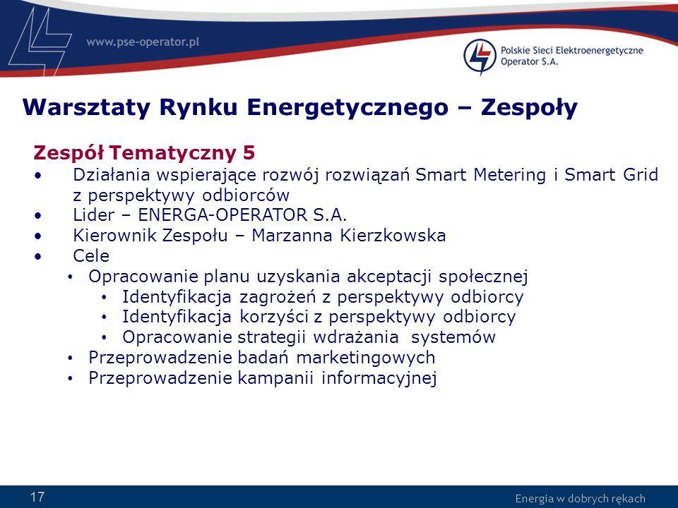 Energia w dobrych rękach 17 Zespół Tematyczny 5 Działania wspierające rozwój rozwiązań Smart Metering i Smart Grid z perspektywy odbiorców Lider – ENE