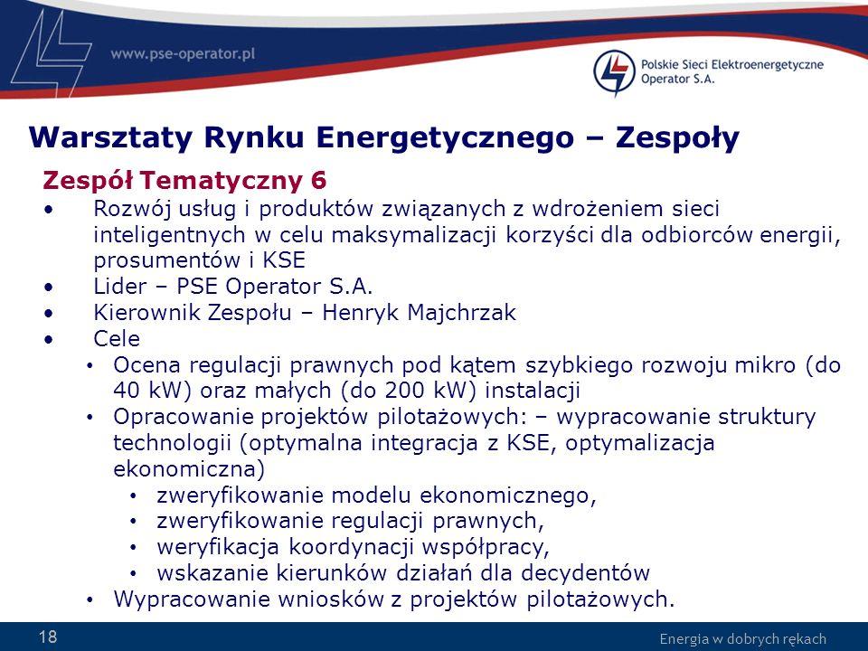 Energia w dobrych rękach 18 Zespół Tematyczny 6 Rozwój usług i produktów związanych z wdrożeniem sieci inteligentnych w celu maksymalizacji korzyści dla odbiorców energii, prosumentów i KSE Lider – PSE Operator S.A.
