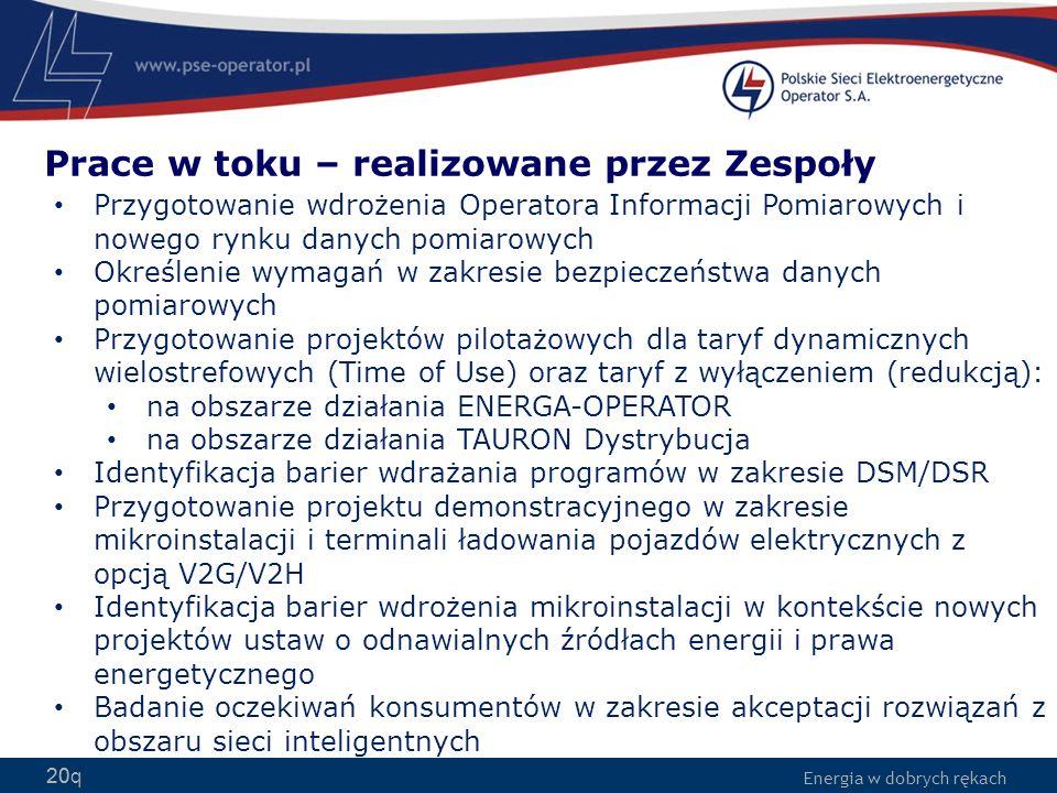 Energia w dobrych rękach 20q Przygotowanie wdrożenia Operatora Informacji Pomiarowych i nowego rynku danych pomiarowych Określenie wymagań w zakresie