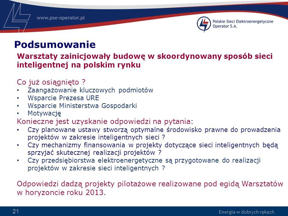 Energia w dobrych rękach 21 Warsztaty zainicjowały budowę w skoordynowany sposób sieci inteligentnej na polskim rynku Co już osiągnięto ? Zaangażowani