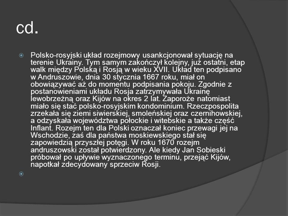 cd. Polsko-rosyjski układ rozejmowy usankcjonował sytuację na terenie Ukrainy. Tym samym zakończył kolejny, już ostatni, etap walk między Polską i Ros