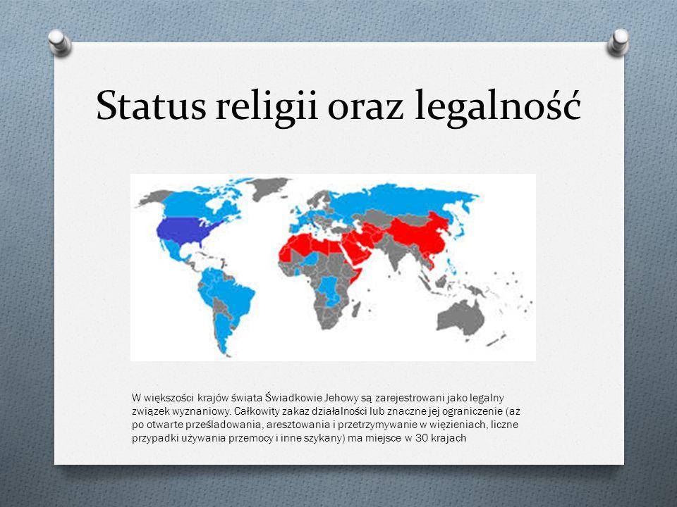 Status religii oraz legalność W większości krajów świata Świadkowie Jehowy są zarejestrowani jako legalny związek wyznaniowy. Całkowity zakaz działaln