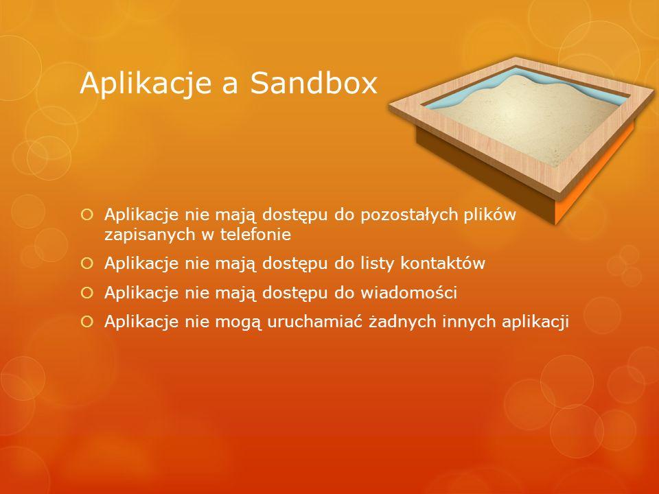 Aplikacje a Sandbox Aplikacje nie mają dostępu do pozostałych plików zapisanych w telefonie Aplikacje nie mają dostępu do listy kontaktów Aplikacje ni