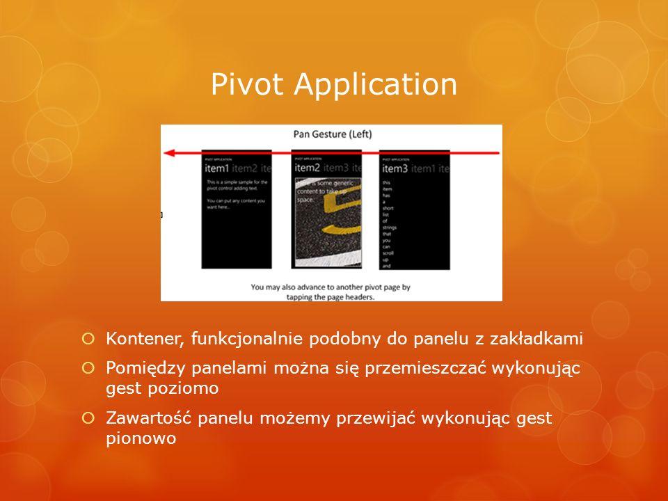 Pivot Application Kontener, funkcjonalnie podobny do panelu z zakładkami Pomiędzy panelami można się przemieszczać wykonując gest poziomo Zawartość pa
