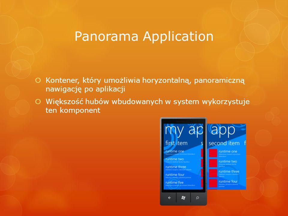 Panorama Application Kontener, który umożliwia horyzontalną, panoramiczną nawigację po aplikacji Większość hubów wbudowanych w system wykorzystuje ten
