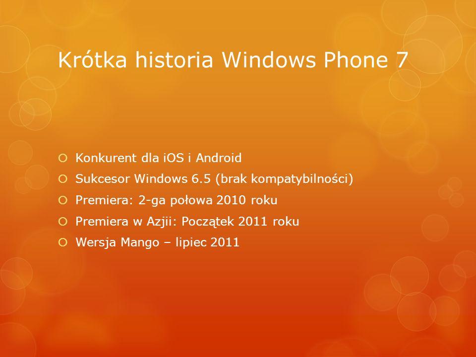 Krótka historia Windows Phone 7 Konkurent dla iOS i Android Sukcesor Windows 6.5 (brak kompatybilności) Premiera: 2-ga połowa 2010 roku Premiera w Azj