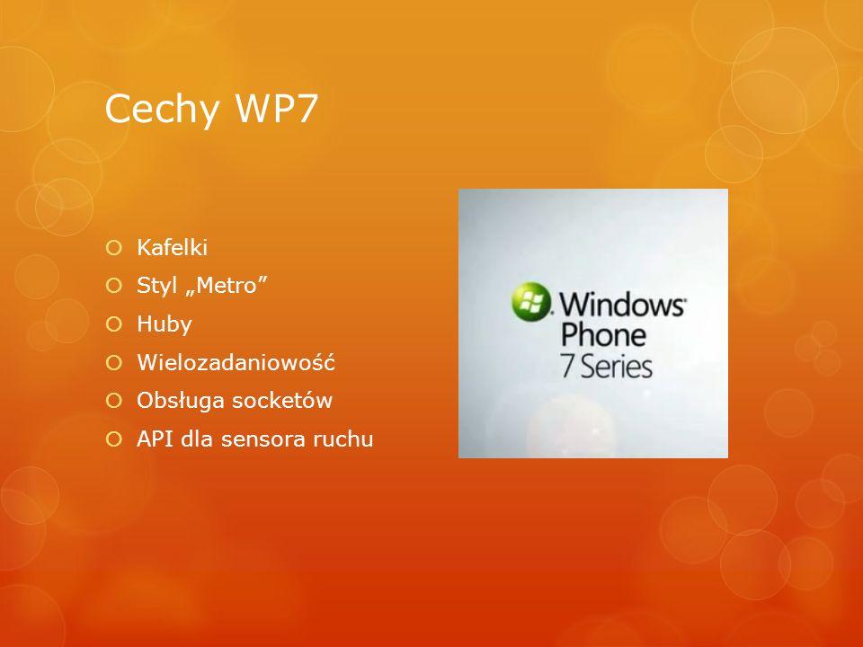 Cechy WP7 Kafelki Styl Metro Huby Wielozadaniowość Obsługa socketów API dla sensora ruchu