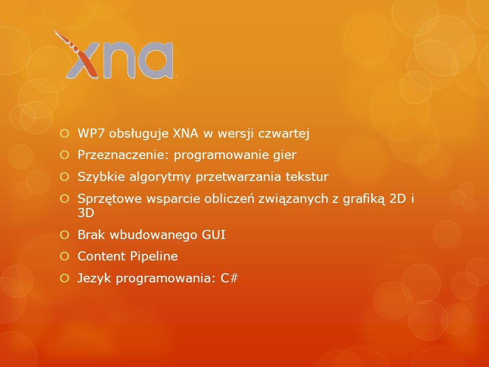 WP7 obsługuje XNA w wersji czwartej Przeznaczenie: programowanie gier Szybkie algorytmy przetwarzania tekstur Sprzętowe wsparcie obliczeń związanych z