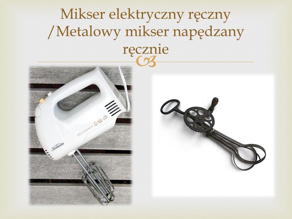 Miksery elektryczne występują zwykle w dwóch odmianach: ręcznej i stojącej. Odmiana ręczna składa się z uchwytu przytwierdzonego do obudowy zawierając