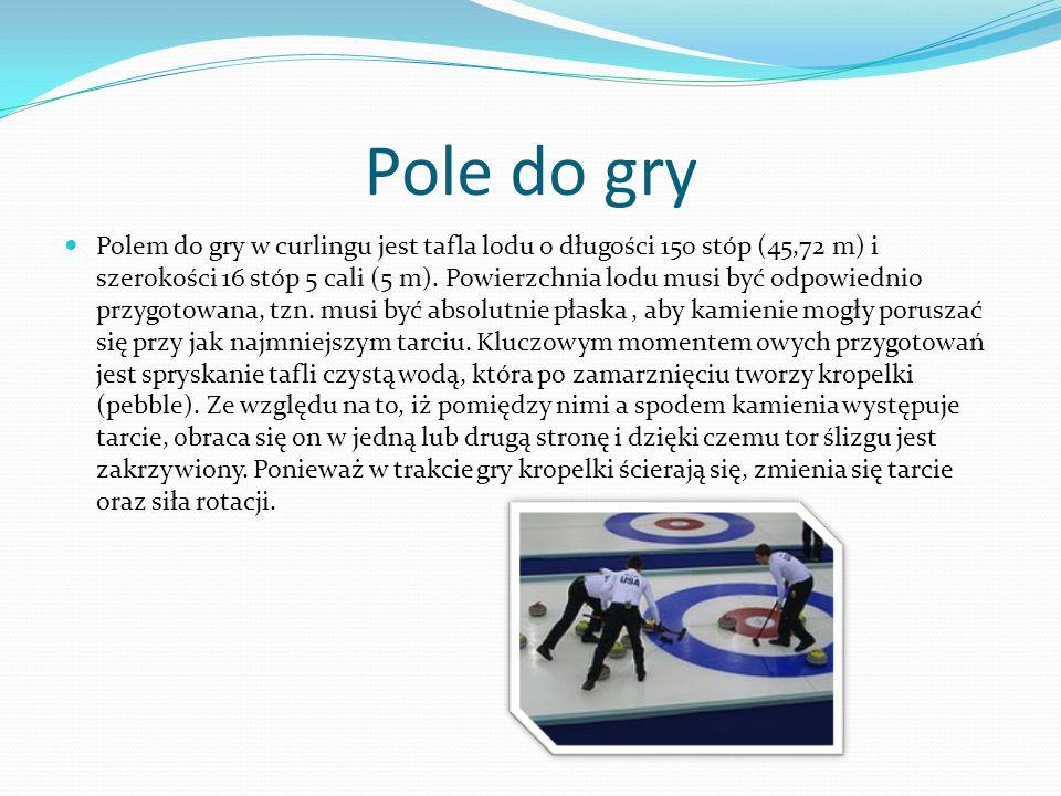 Pole do gry Polem do gry w curlingu jest tafla lodu o długości 150 stóp (45,72 m) i szerokości 16 stóp 5 cali (5 m). Powierzchnia lodu musi być odpowi