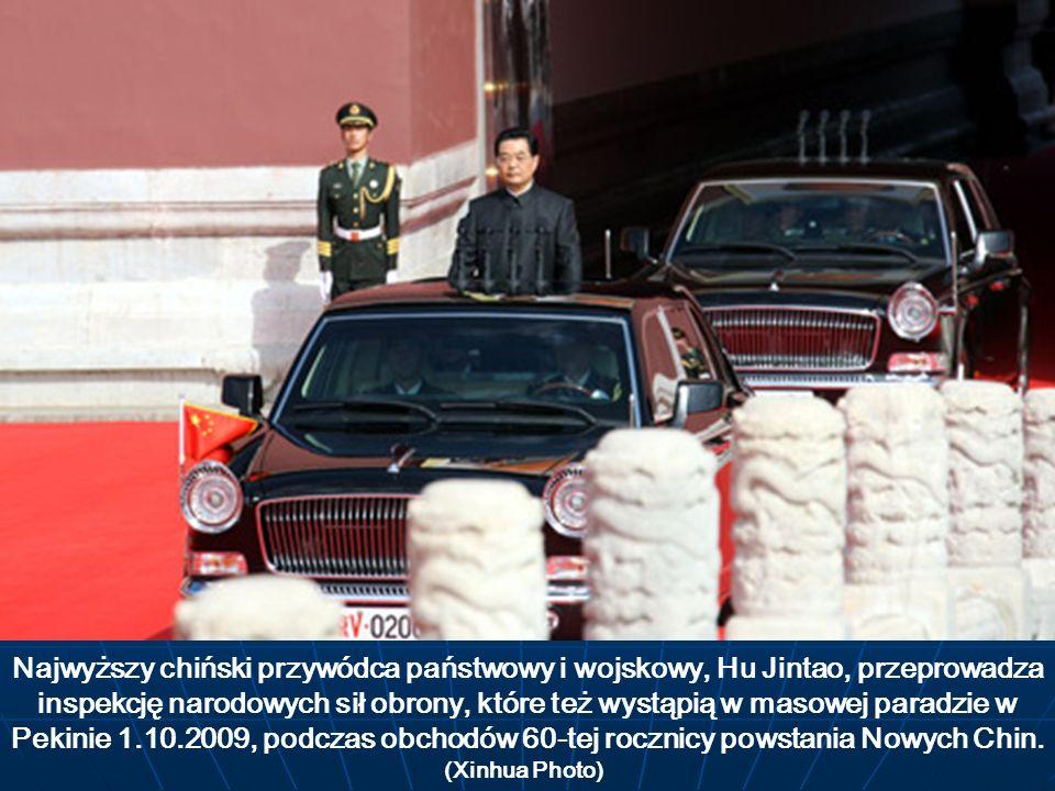 Najwyższy chiński przywódca państwowy i wojskowy, Hu Jintao, przeprowadza inspekcję narodowych sił obrony, które też wystąpią w masowej paradzie w Pek