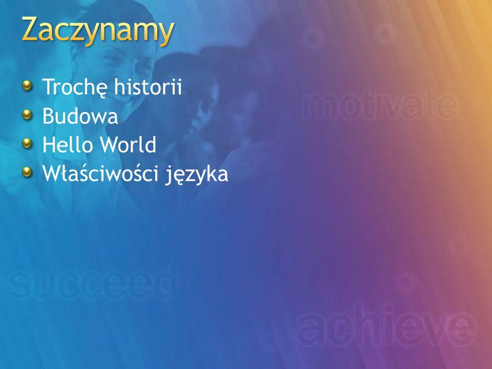 Trochę historii Budowa Hello World Właściwości języka