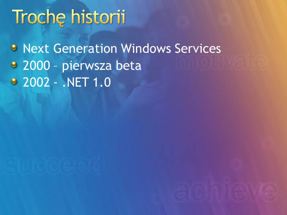 Next Generation Windows Services 2000 – pierwsza beta 2002 -.NET 1.0