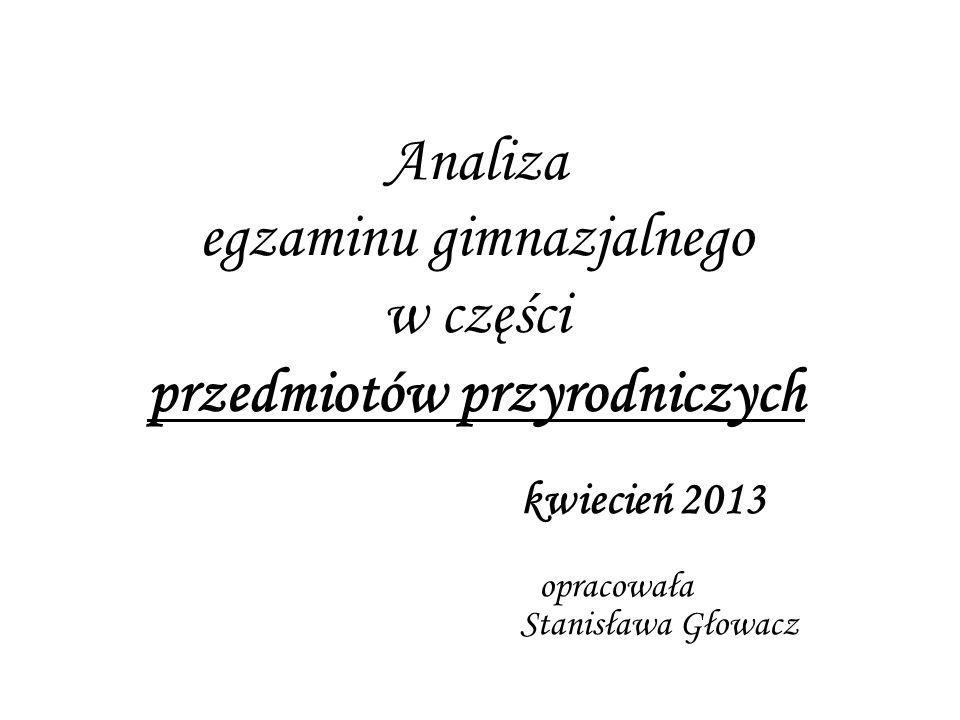 Analiza egzaminu gimnazjalnego w części przedmiotów przyrodniczych kwiecień 2013 opracowała Stanisława Głowacz
