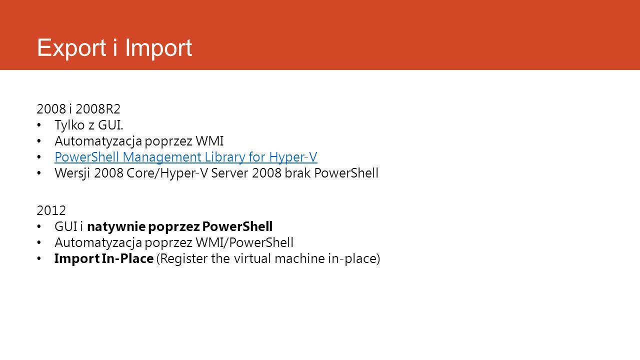 Export i Import 2008 i 2008R2 Tylko z GUI. Automatyzacja poprzez WMI PowerShell Management Library for Hyper-V Wersji 2008 Core/Hyper-V Server 2008 br