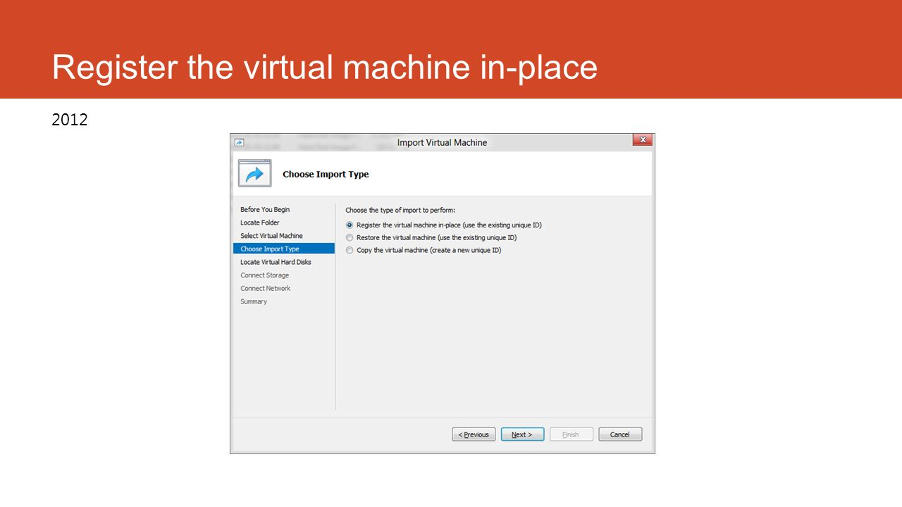 Register the virtual machine in-place 2012