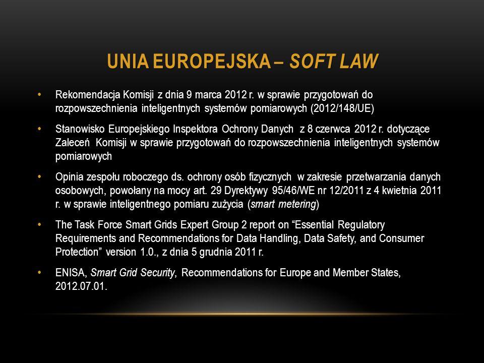 UNIA EUROPEJSKA – SOFT LAW Rekomendacja Komisji z dnia 9 marca 2012 r.