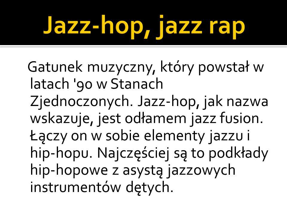 Gatunek muzyczny, który powstał w latach '90 w Stanach Zjednoczonych. Jazz-hop, jak nazwa wskazuje, jest odłamem jazz fusion. Łączy on w sobie element