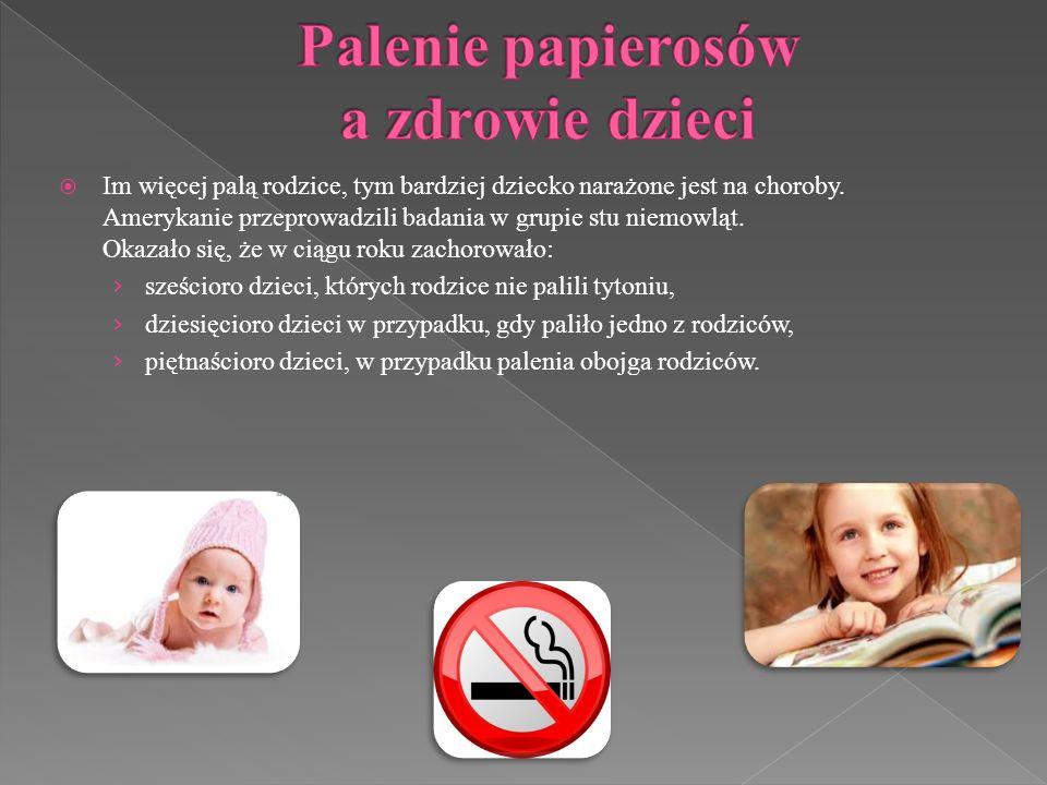 Im więcej palą rodzice, tym bardziej dziecko narażone jest na choroby. Amerykanie przeprowadzili badania w grupie stu niemowląt. Okazało się, że w cią