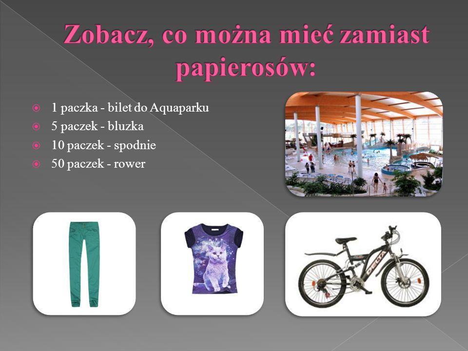 1 paczka - bilet do Aquaparku 5 paczek - bluzka 10 paczek - spodnie 50 paczek - rower