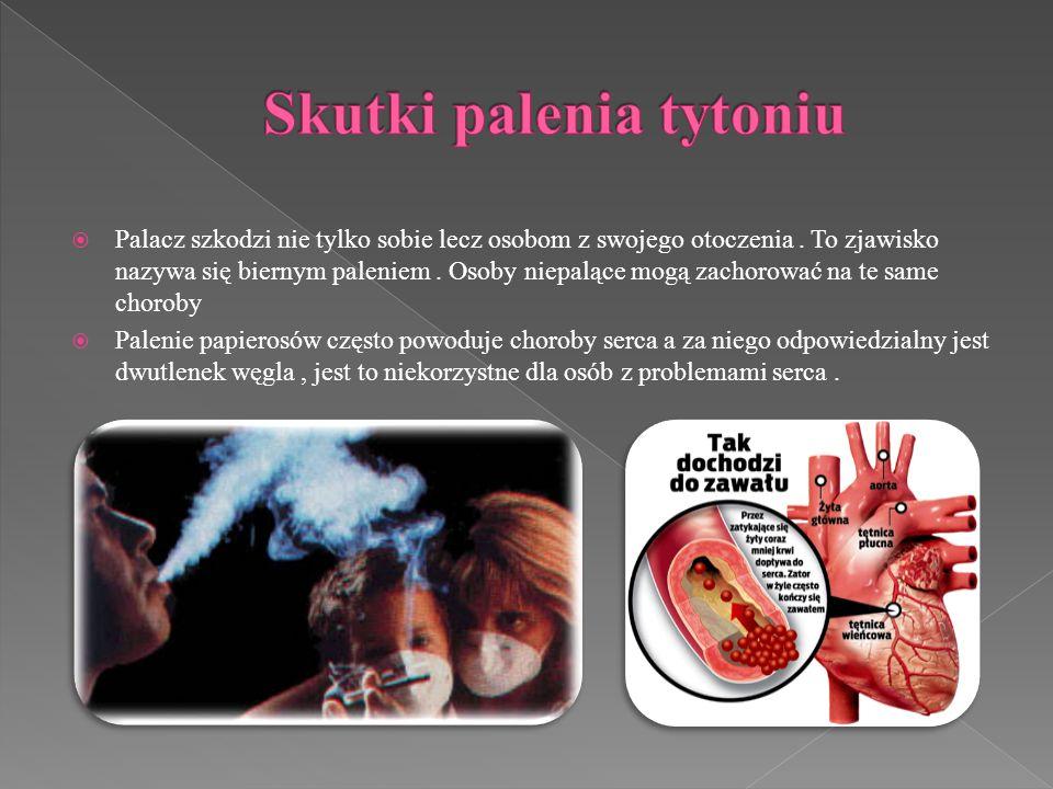 Palacz szkodzi nie tylko sobie lecz osobom z swojego otoczenia. To zjawisko nazywa się biernym paleniem. Osoby niepalące mogą zachorować na te same ch