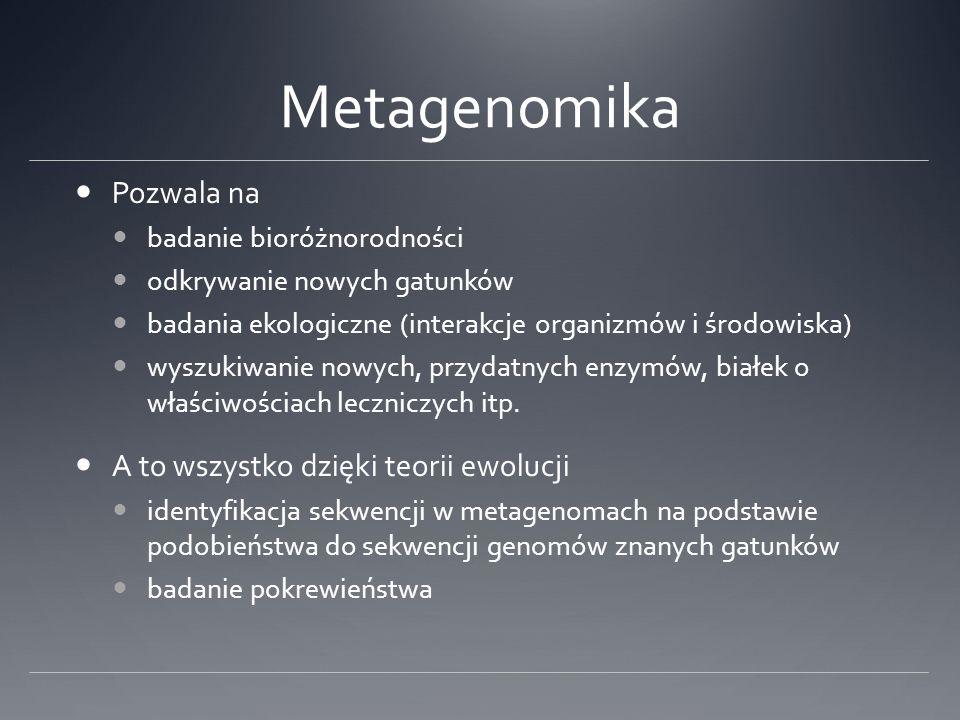 Metagenomika Pozwala na badanie bioróżnorodności odkrywanie nowych gatunków badania ekologiczne (interakcje organizmów i środowiska) wyszukiwanie nowy