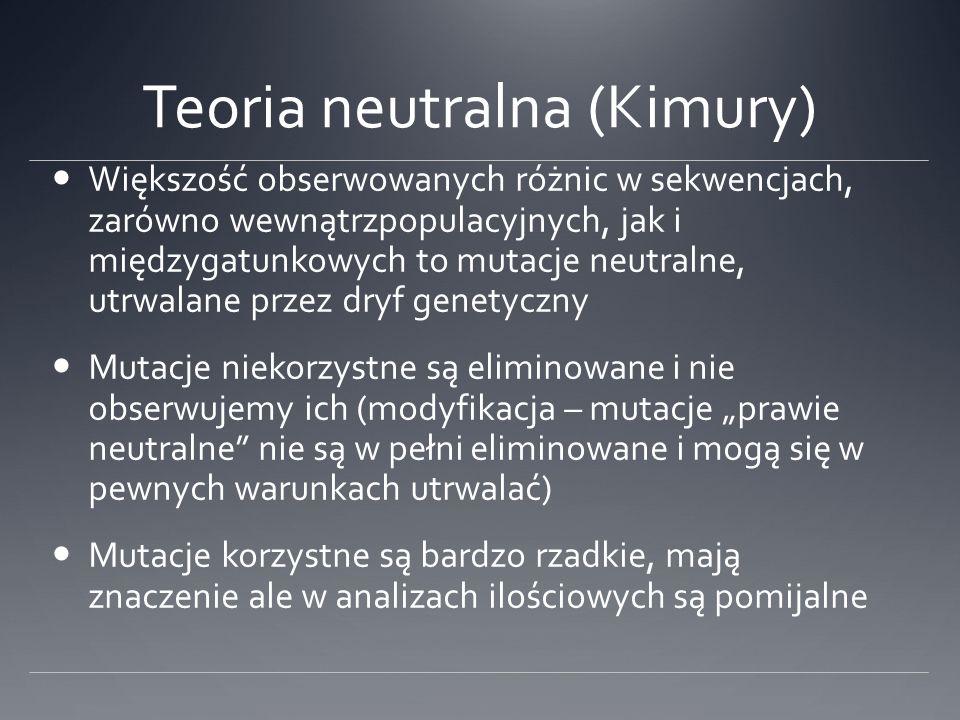 Teoria neutralna (Kimury) Większość obserwowanych różnic w sekwencjach, zarówno wewnątrzpopulacyjnych, jak i międzygatunkowych to mutacje neutralne, u