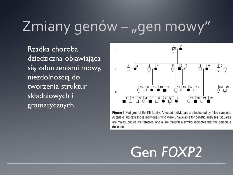 Zmiany genów – gen mowy Rzadka choroba dziedziczna objawiająca się zaburzeniami mowy, niezdolnością do tworzenia struktur składniowych i gramatycznych.