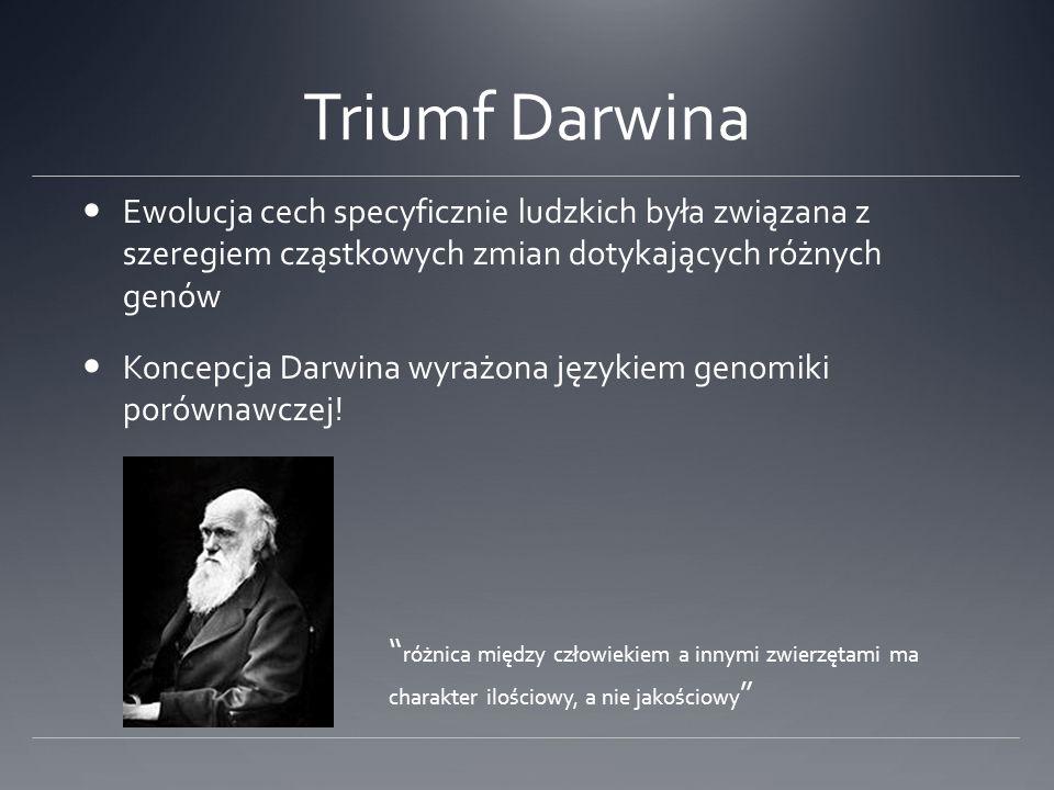 Triumf Darwina Ewolucja cech specyficznie ludzkich była związana z szeregiem cząstkowych zmian dotykających różnych genów Koncepcja Darwina wyrażona językiem genomiki porównawczej.