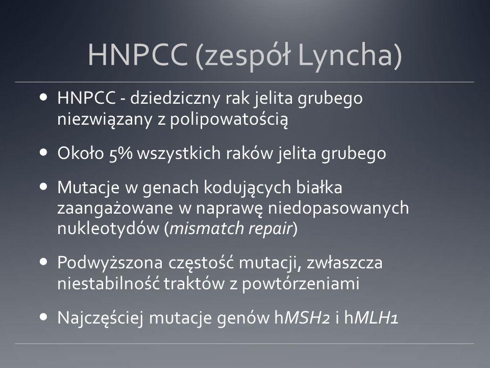 HNPCC (zespół Lyncha) HNPCC - dziedziczny rak jelita grubego niezwiązany z polipowatością Około 5% wszystkich raków jelita grubego Mutacje w genach kodujących białka zaangażowane w naprawę niedopasowanych nukleotydów (mismatch repair) Podwyższona częstość mutacji, zwłaszcza niestabilność traktów z powtórzeniami Najczęściej mutacje genów hMSH2 i hMLH1