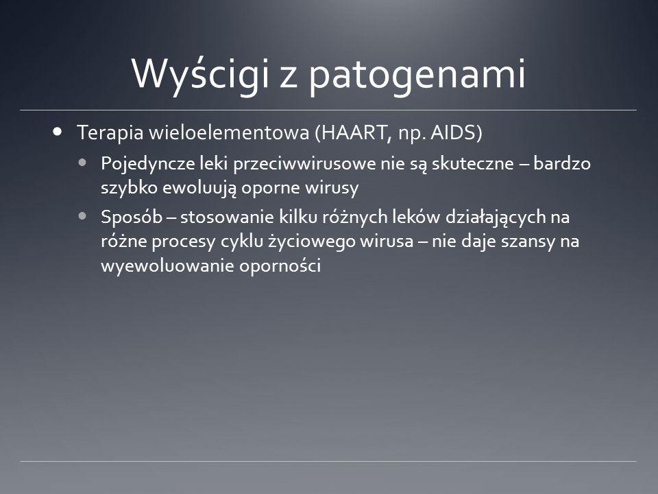 Wyścigi z patogenami Terapia wieloelementowa (HAART, np.