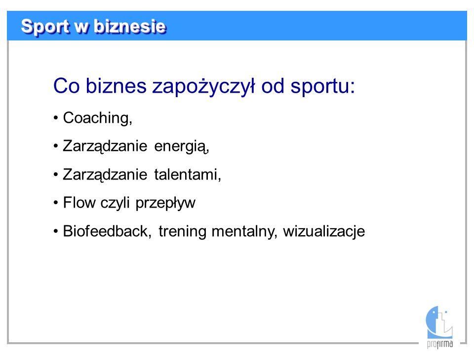 Sport w biznesie Co biznes zapożyczył od sportu: Coaching, Zarządzanie energią, Zarządzanie talentami, Flow czyli przepływ Biofeedback, trening mental
