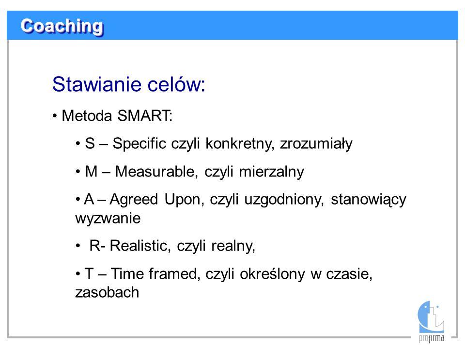 Stawianie celów: Metoda SMART: S – Specific czyli konkretny, zrozumiały M – Measurable, czyli mierzalny A – Agreed Upon, czyli uzgodniony, stanowiący