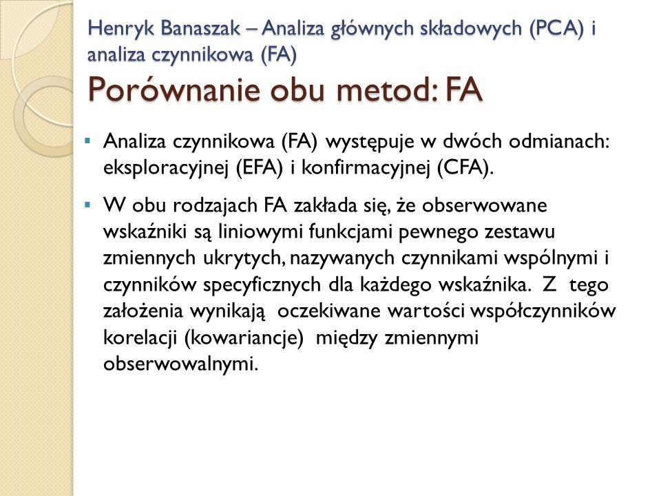 Analiza czynnikowa (FA) występuje w dwóch odmianach: eksploracyjnej (EFA) i konfirmacyjnej (CFA). W obu rodzajach FA zakłada się, że obserwowane wskaź