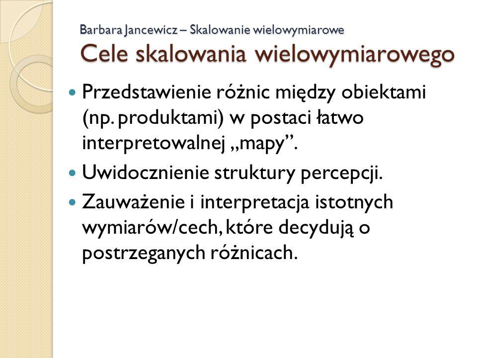 Barbara Jancewicz – Skalowanie wielowymiarowe Cele skalowania wielowymiarowego Przedstawienie różnic między obiektami (np. produktami) w postaci łatwo