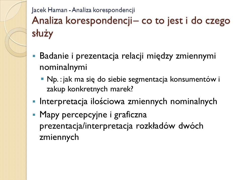 Jacek Haman - Analiza korespondencji Analiza korespondencji – co to jest i do czego służy Badanie i prezentacja relacji między zmiennymi nominalnymi Np.