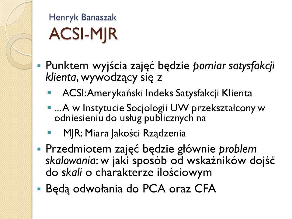 Henryk Banaszak ACSI-MJR Punktem wyjścia zajęć będzie pomiar satysfakcji klienta, wywodzący się z ACSI: Amerykański Indeks Satysfakcji Klienta...