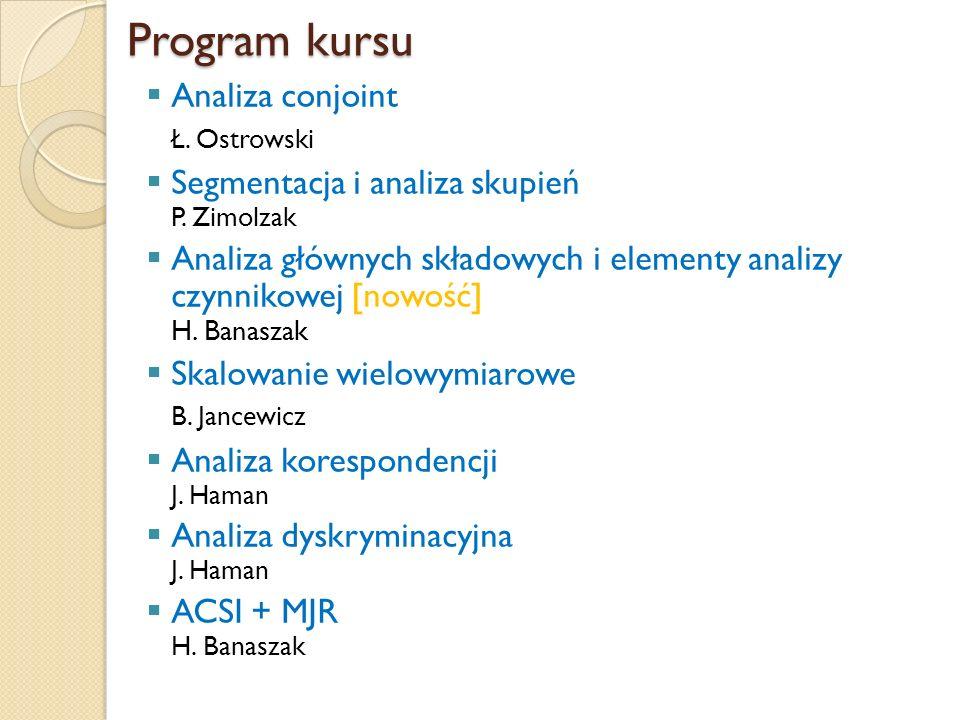 Program kursu Analiza conjoint Ł. Ostrowski Segmentacja i analiza skupień P. Zimolzak Analiza głównych składowych i elementy analizy czynnikowej [nowo