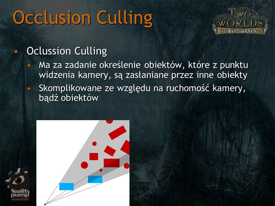 Oclussion CullingOclussion Culling Ma za zadanie określenie obiektów, które z punktu widzenia kamery, są zasłaniane przez inne obiektyMa za zadanie ok