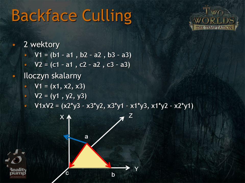 2 wektory2 wektory V1 = (b1 – a1, b2 – a2, b3 – a3)V1 = (b1 – a1, b2 – a2, b3 – a3) V2 = (c1 – a1, c2 – a2, c3 – a3)V2 = (c1 – a1, c2 – a2, c3 – a3) I
