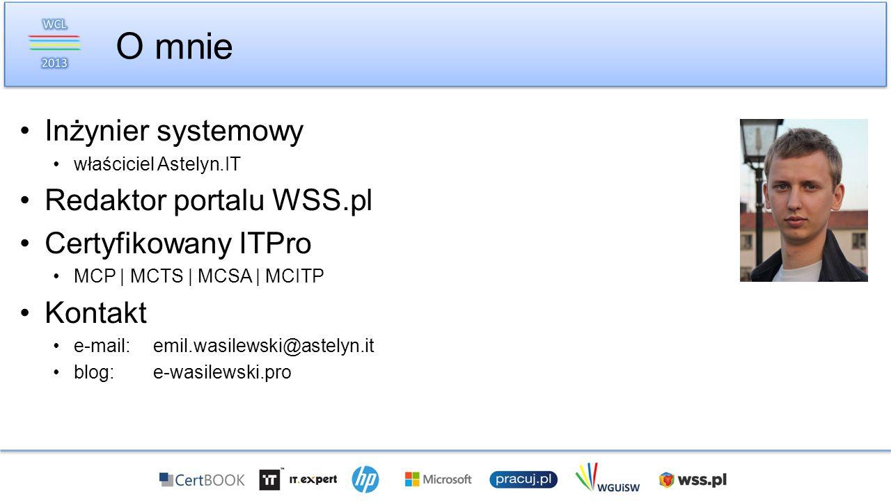 O mnie Inżynier systemowy właściciel Astelyn.IT Redaktor portalu WSS.pl Certyfikowany ITPro MCP | MCTS | MCSA | MCITP Kontakt e-mail:emil.wasilewski@a