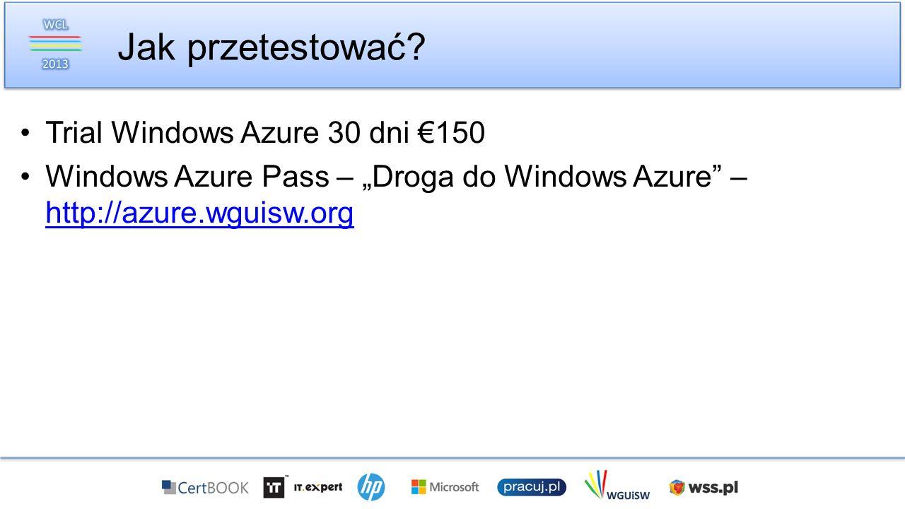 Trial Windows Azure 30 dni 150 Windows Azure Pass – Droga do Windows Azure – http://azure.wguisw.org http://azure.wguisw.org Jak przetestować?