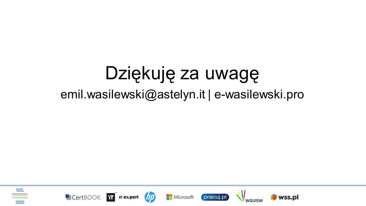 Dziękuję za uwagę emil.wasilewski@astelyn.it | e-wasilewski.pro