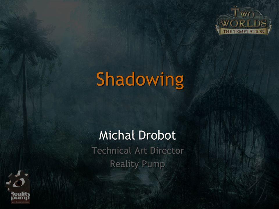 Shadow mappingShadow mapping Konceptualnie cieniowanie traktujemy jako problem widocznościKonceptualnie cieniowanie traktujemy jako problem widoczności Punkt znajdujący się w cieniuPunkt znajdujący się w cieniu Światło nie widzi punktuŚwiatło nie widzi punktu Oko widzi punktOko widzi punkt Punkt znajdujący się w świetlePunkt znajdujący się w świetle Światło widzi punktŚwiatło widzi punkt Oko widzi punktOko widzi punkt Shadow Mapping
