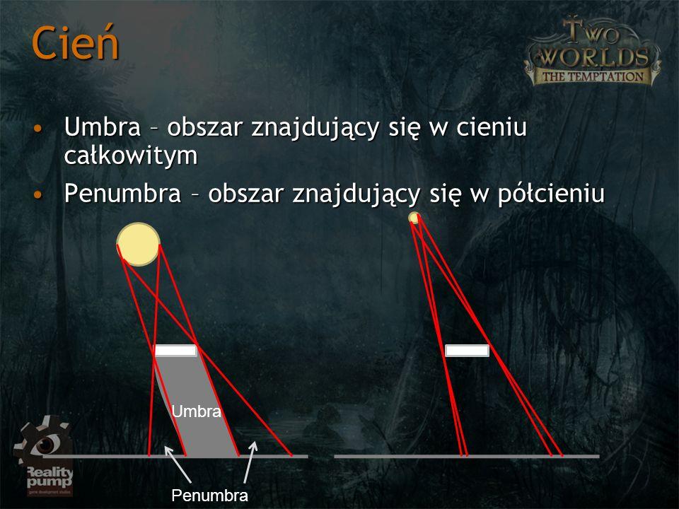 Problem doboru projekcji przy konstrukcji macierzy światłaProblem doboru projekcji przy konstrukcji macierzy światła Dla świateł punktowych bądź typu spot używamy projekcji perspektywicznej szerokiej wg kąta oświetlenia światłaDla świateł punktowych bądź typu spot używamy projekcji perspektywicznej szerokiej wg kąta oświetlenia światła Efektywnie do 90*Efektywnie do 90* Dla świateł szerszych można rozważyć projekcjeDla świateł szerszych można rozważyć projekcje Point light = 6 * projekcja 90 = cubemapPoint light = 6 * projekcja 90 = cubemap Ewentualnie możliwe projekcje wrap : sphere mapping, paraboloid mappingEwentualnie możliwe projekcje wrap : sphere mapping, paraboloid mapping Dla świateł kierunkowych (słońce) używamy zaawansowanych projekcjiDla świateł kierunkowych (słońce) używamy zaawansowanych projekcji OrtogonalnaOrtogonalna Projekcje wrapujące ze względu na zwiększenie jakościProjekcje wrapujące ze względu na zwiększenie jakości Shadow Mapping