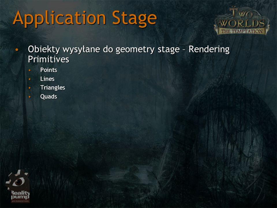 Application Stage Obiekty wysyłane do geometry stage – Rendering PrimitivesObiekty wysyłane do geometry stage – Rendering Primitives PointsPoints Line