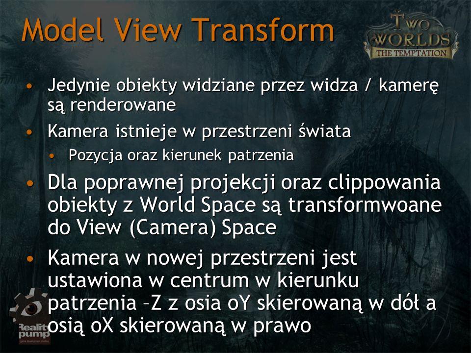 Model View Transform Jedynie obiekty widziane przez widza / kamerę są renderowaneJedynie obiekty widziane przez widza / kamerę są renderowane Kamera i