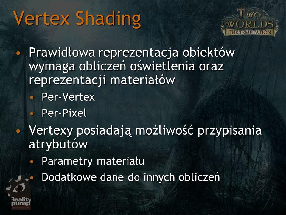 Vertex Shading Prawidłowa reprezentacja obiektów wymaga obliczeń oświetlenia oraz reprezentacji materiałówPrawidłowa reprezentacja obiektów wymaga obl