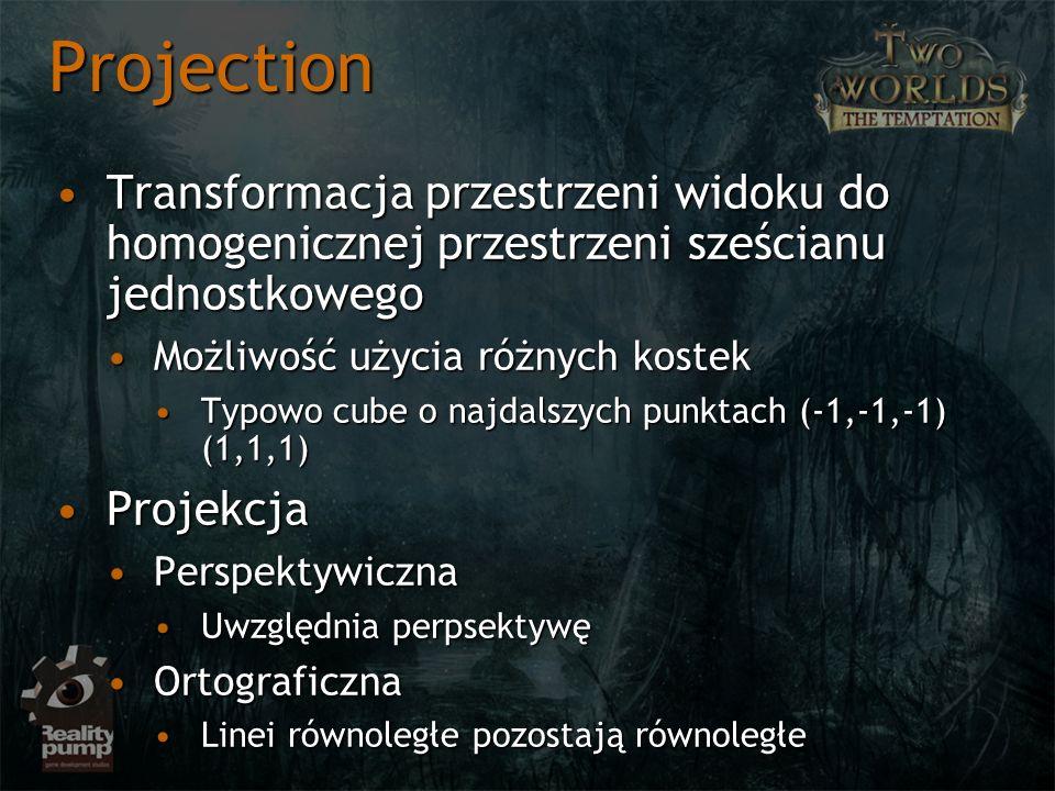 Projection Transformacja przestrzeni widoku do homogenicznej przestrzeni sześcianu jednostkowegoTransformacja przestrzeni widoku do homogenicznej prze